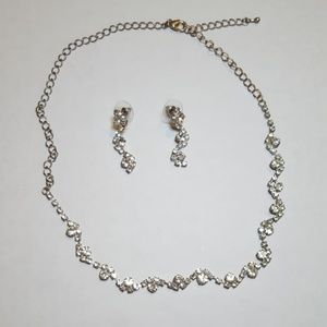 Jewelry - Silver Crystal Vine Necklace and Earring Set